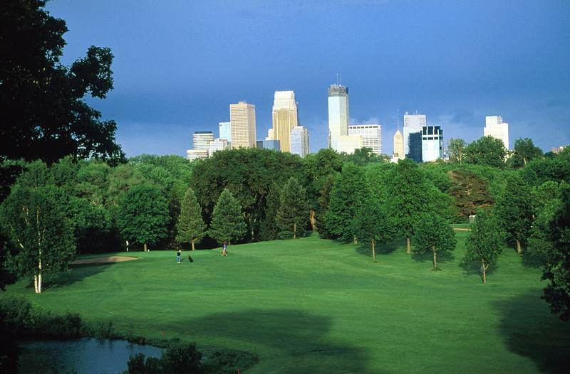 Minneapolis skyline from TW golf club