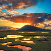 Harris: sunset over saltings