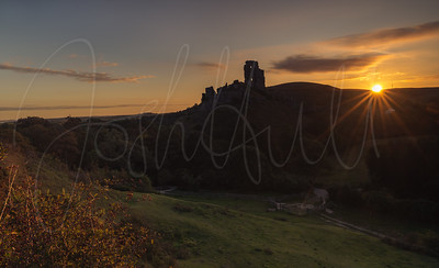 Sunrise over Corfe Castle