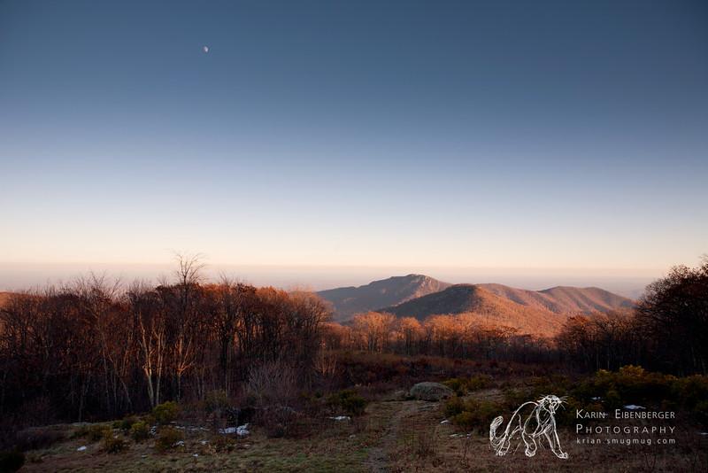 November 2011. Evening light on Skyland Drive, Shenandoah National Park. Old Rag in the background.