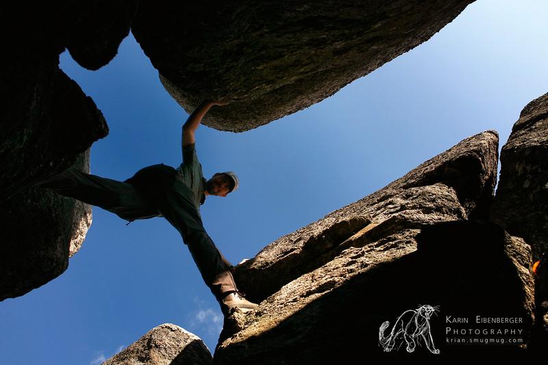 October 2011. Shenandoah National Park. Hiking the Old Rag mountain. On the mountain ridge you can boulder over granite rocks. Fun, fun, fun... ;)