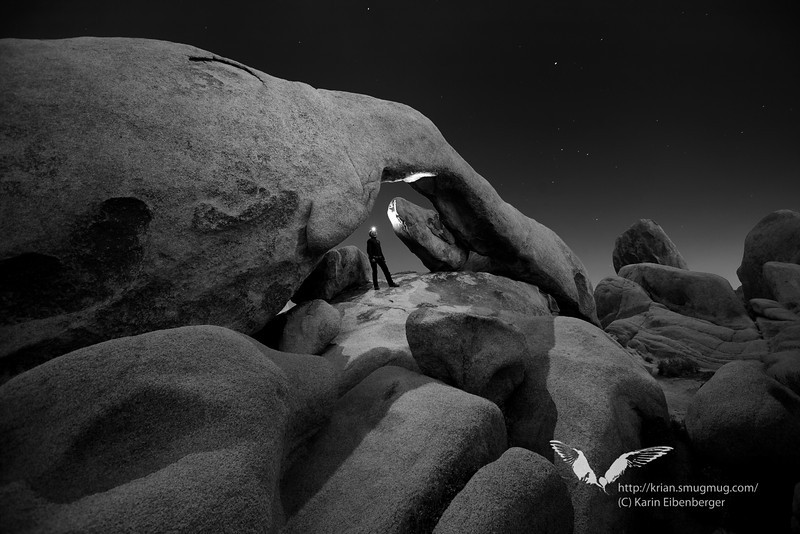 March 2012. Arch Rock at night. Self portrait.