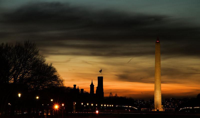 Smithsonian Castle and Washington Monument at sunset