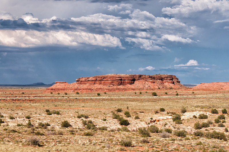 Storm approaching across the desert at Five Mile Wash, south of Hollbrook and Painted Desert, Arizona, July 2012.