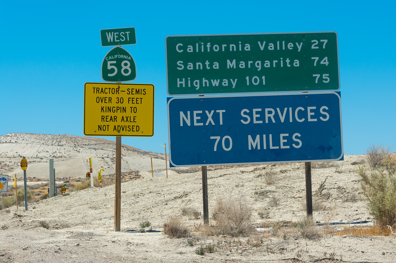 Out on the road, and a long way from anywhere. On Highway 58, west of Buttonwillow, California, USA, June 2015. [McKittrick-HWY58 2015-06 011 CA-USA]