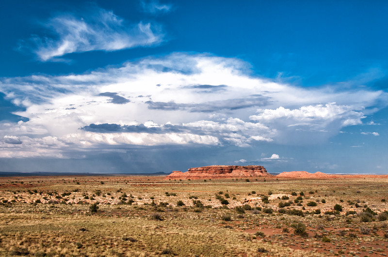 Awesome cloud formations and a storm approaching across the desert at Five Mile Wash, south of Hollbrook and Painted Desert, Arizona, July 2012.