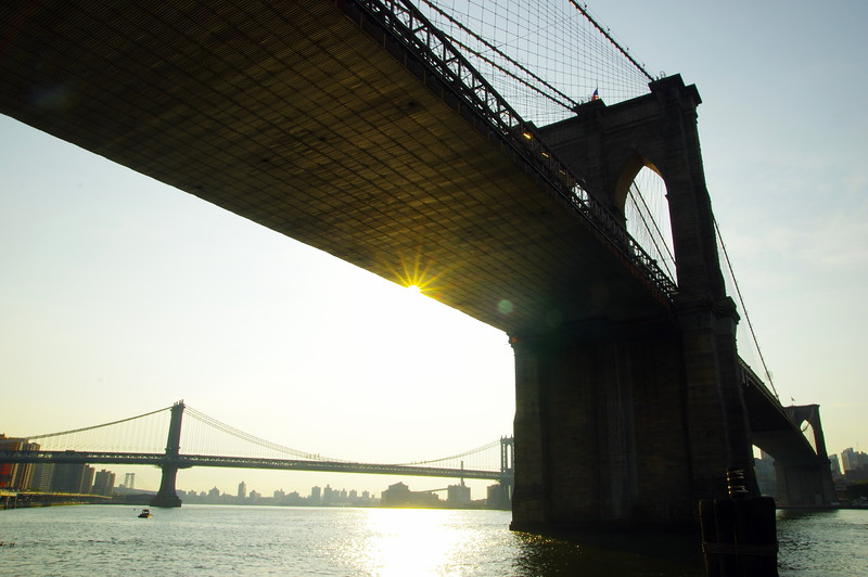 Brooklyn and Manhattan Bridge at sunrise