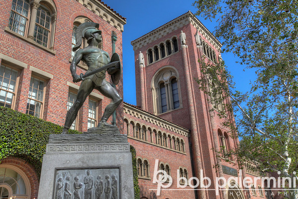 Bovard Auditorium & Tommy Trojan statue, University of Southern California (USC) campus
