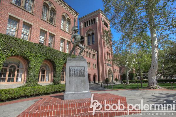 Bovard Auditorium & Tommy Trojan statue, University of Southern California (USC) campus