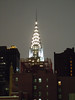This is a night view of the Chrysler building as leaving the United Nations