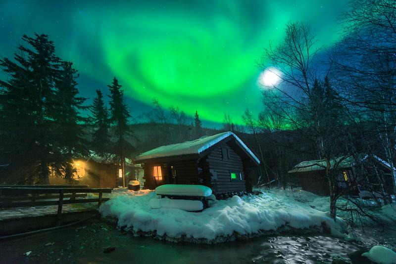 Under The Green Moon Light -Chena Hot Springs Resort, Outside Fairbanks, Alaska