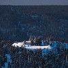 Spotlight On Overhanging Cliff -Fairbanks, Mt Aurora Skiland, Alaska