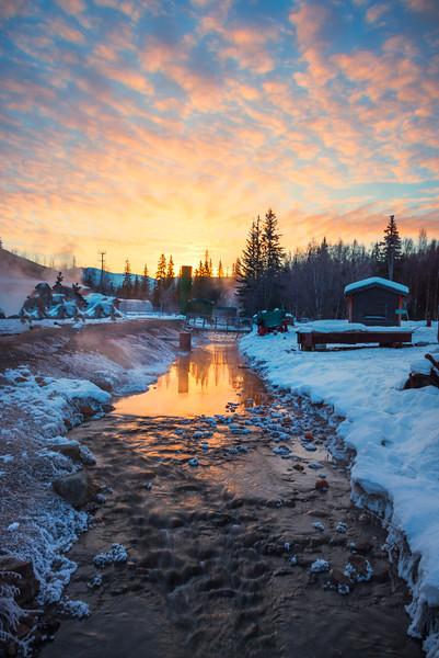 Looking Down The River At Sunrise -Chena Hot Springs Resort, Outside Fairbanks, Alaska