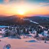 Sunburst Touching Mountains -Fairbanks, Mt Aurora Skiland, Alaska