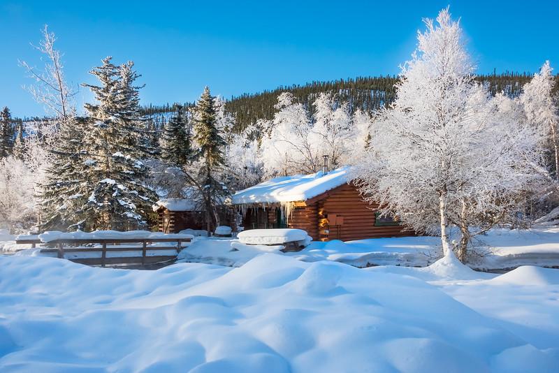 Snow Mounds Surrounding Snow Cabin -Chena Hot Springs Resort, Fairbanks, Alaska