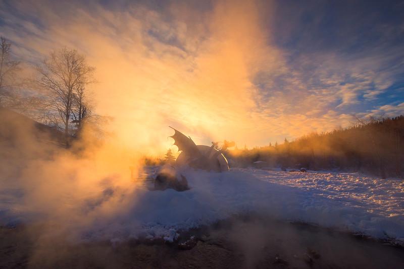 Dragons Fire Early Morning -Chena Hot Springs Resort, Outside Fairbanks, Alaska