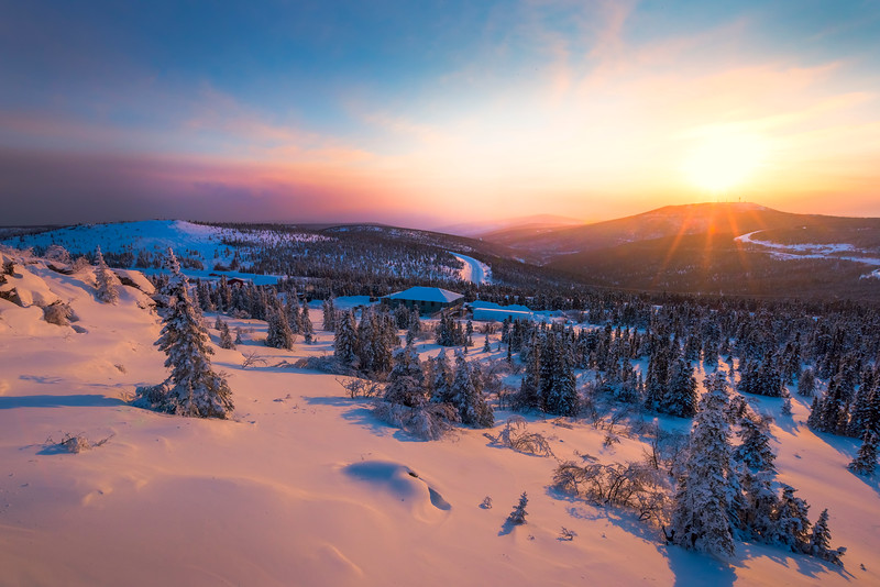 Sunset Over The Winter Valley -Fairbanks, Mt Aurora Skiland, Alaska
