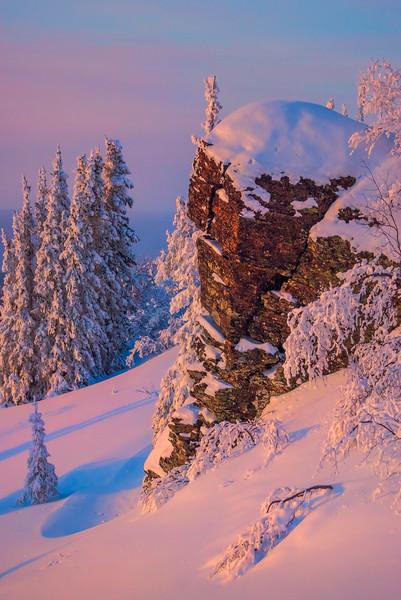 Fresh Snow Cliffside -Fairbanks, Mt Aurora Skiland, Alaska