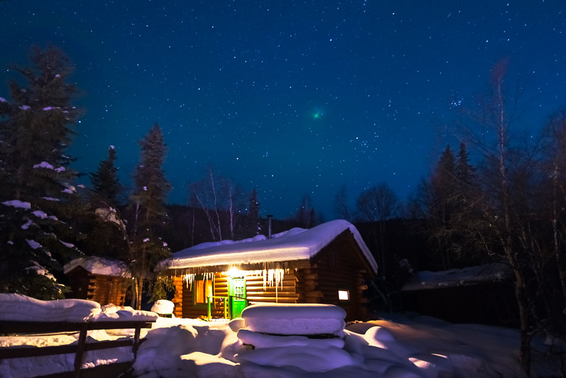 Snow Cabin Under A Blue Starry Sky -Chena Hot Springs Resort, Fairbanks, Alaska