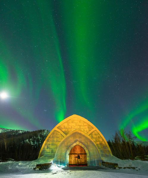 The Light Of The Moon Shining Down -Chena Hot Springs Resort, Outside Fairbanks, Alaska