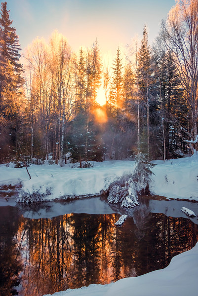 Fire Pond Reflections -Chena Hot Springs Resort, Fairbanks, Alaska