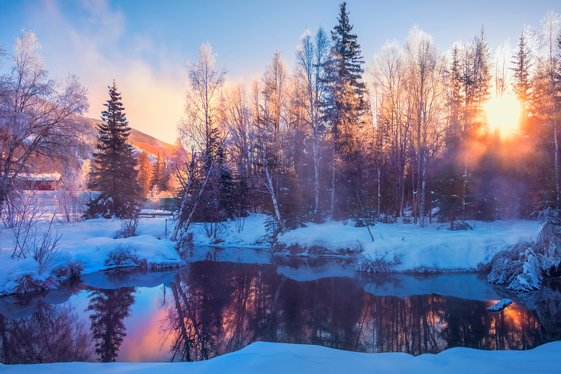 Early Morning Pond Reflections -Chena Hot Springs Resort, Fairbanks, Alaska