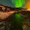 Looking Down Stream With Lights -Chena Hot Springs Resort, Outside Fairbanks, Alaska