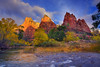 First Light On The Peaks - Three Patriarches, Virgin River, Zion National Park, Utah