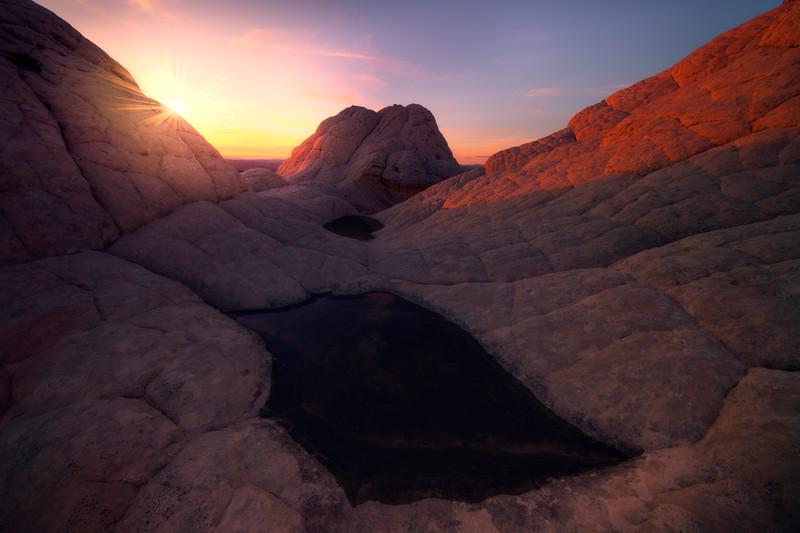 White Pocket Pool Sunsets - White Pockets, Vermillion Cliffs National Monument, Arizona