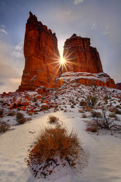 Sunburst Breakthrough -  Park Avenue, Arches National Park, Utah