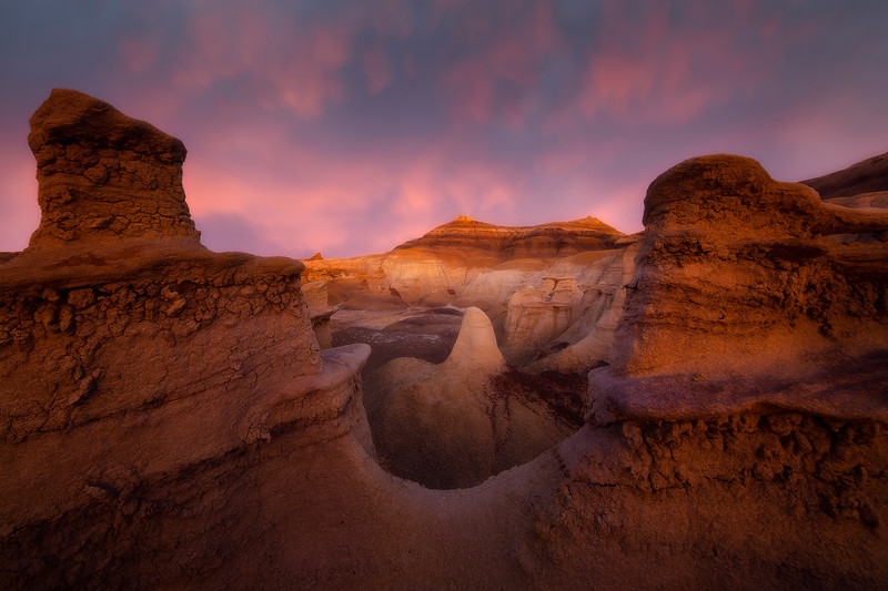 An Oasis Of Soft Light And Pink Pastel -  Bisti/De-Na-Zin Wilderness, New Mexico