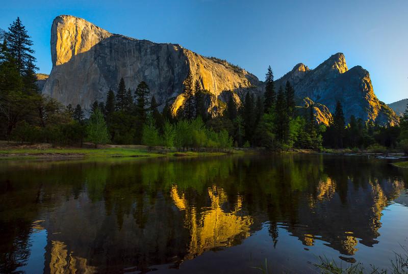 The Three Brothers And El Cap Reflected - Yosemite National Park, Sierra Nevadas, California