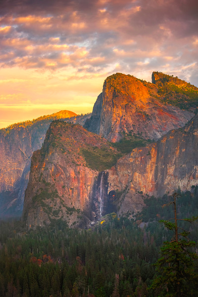 Bridalveil Falls From Tunnel View At Sunset - Lower Yosemite Valley, Yosemite National Park, CA