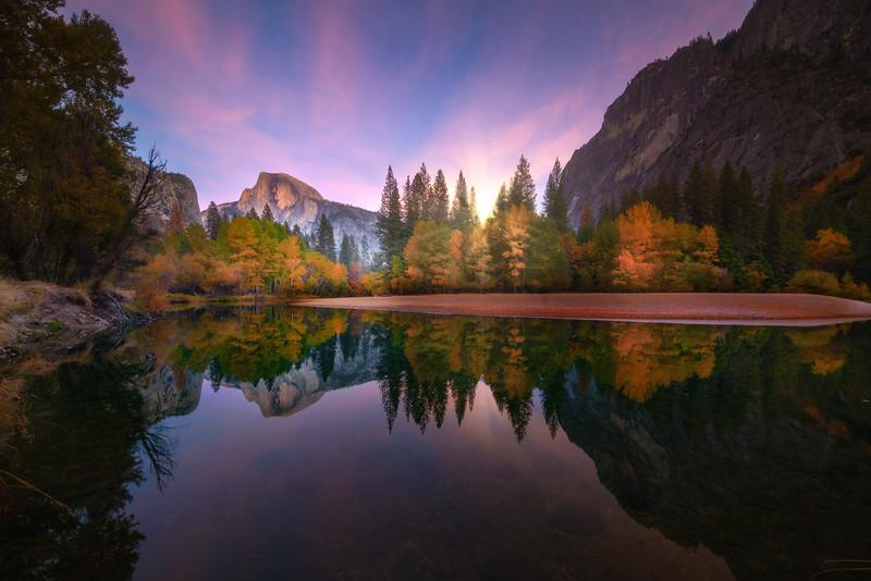 Half Dome Twilight Glow - Lower Yosemite Valley, Yosemite National Park, California