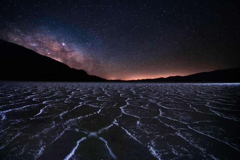 Badwater Polygon Milky Way - Death Valley National Park, Eastern Sierras, California