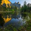 Three Brothers With Low Lying Mist - Yosemite National Park, Sierra Nevadas, California