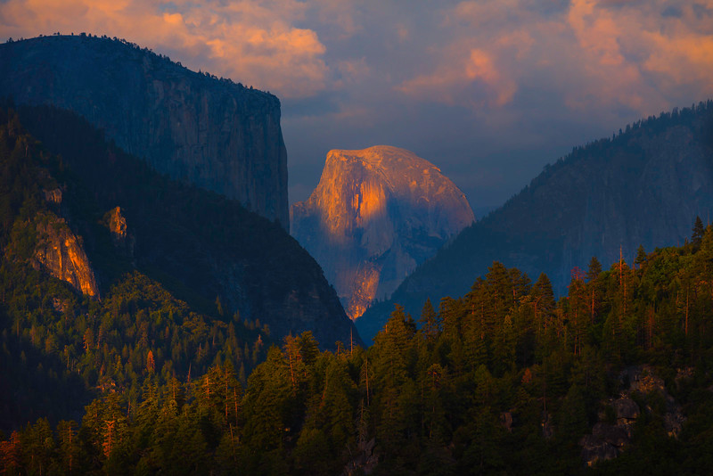 Half Dome At The Base Of The Converging Layers - Yosemite National Park, Sierra Nevadas, California
