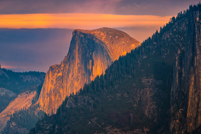 Half Dome In Tight At Sunset From Tunnel View - Lower Yosemite Valley, Yosemite National Park, CA