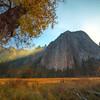 Sun Rays Streaking Through Peaks - Lower Yosemite Valley, Yosemite National Park, CA