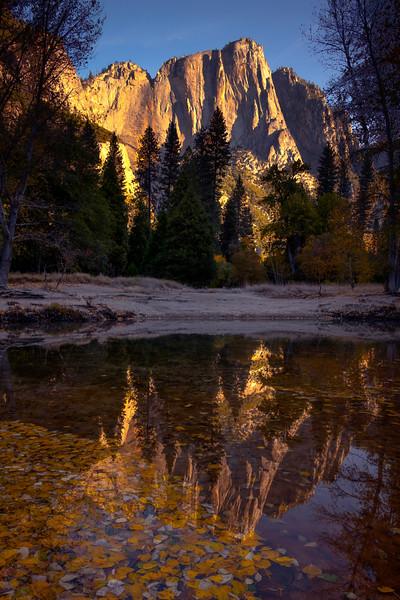 Upper Yosemite Falls Reflected In Pool Creek - Lower Yosemite Valley, Yosemite National Park, California