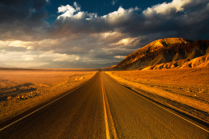 The Road Leading Into Sunset - Death Valley National Park, Eastern Sierras, California