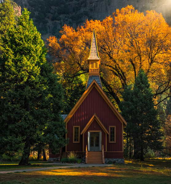 Late Afternoon Light On Yosemite Chapel - Lower Yosemite Valley, Yosemite National Park, CA