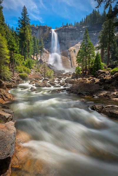 Nevada Falls Looking Up - Yosemite National Park, Sierra Nevadas, California