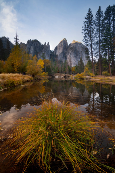 Cathedral Spires And Plant From Tahiti Beach - Lower Yosemite Valley, Yosemite National Park, California