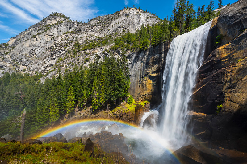 Vernal Falls And Rainbow On The Way Up - Yosemite National Park, Sierra Nevadas, California
