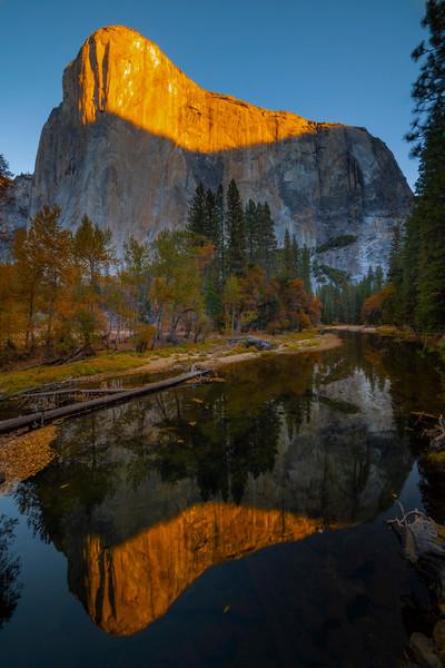 El Captain Sunrise From El Captain Bridge - Lower Yosemite Valley, Yosemite National Park, California