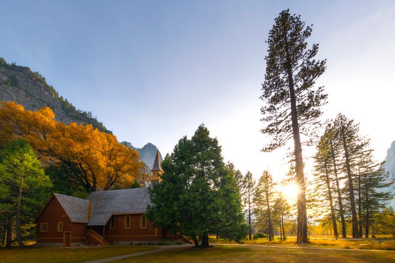 Yosemite Chapel In Late Afternoon Light - Lower Yosemite Valley, Yosemite National Park, California