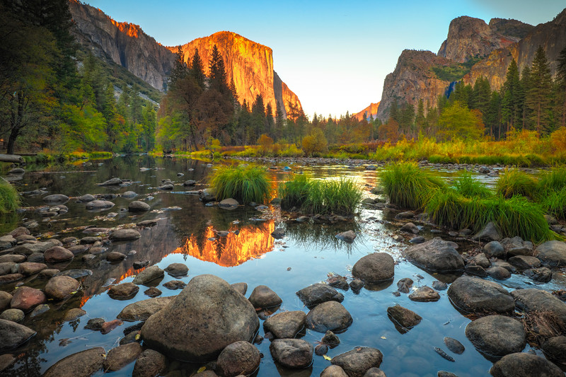 Valley View At Sunset - Lower Yosemite Valley, Yosemite National Park, CA