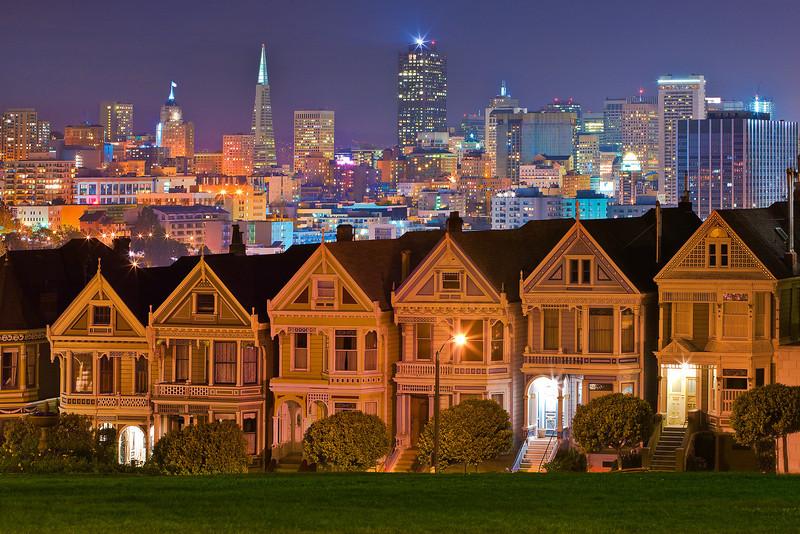 The Alamo Square At Night - San Francisco, California