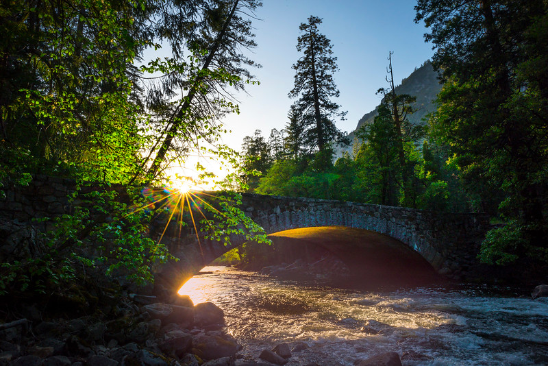 Sunlight Under The Pohono Bridge - Yosemite National Park, Sierra Nevadas, California